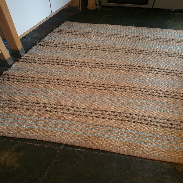 Gypsy Stripe Turquoise Grey Woven Cotton Rug: Seagrass Pale Turquoise With Grey, Natural Weave Rugs