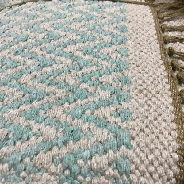 Cotton Patterned Rug Pale Turquoise With Ivory Chevrons