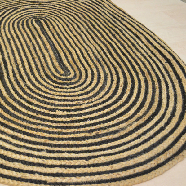 Jute With Black Cotton Oval Rug