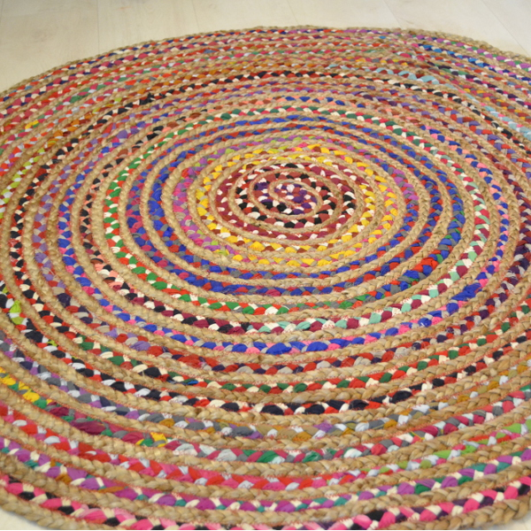 Coloured Cotton With Jute Circle Rug