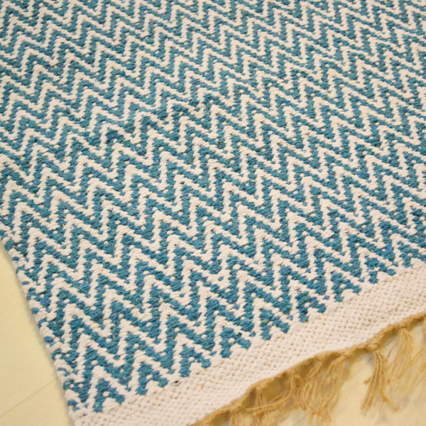 Cotton Patterned Rug (Teal Chevrons)