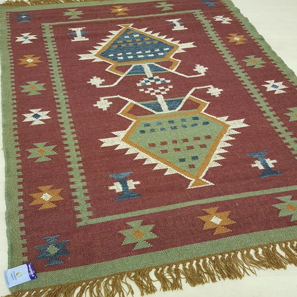 100% Wool Red With Green, Blue Kilim Rug 6601