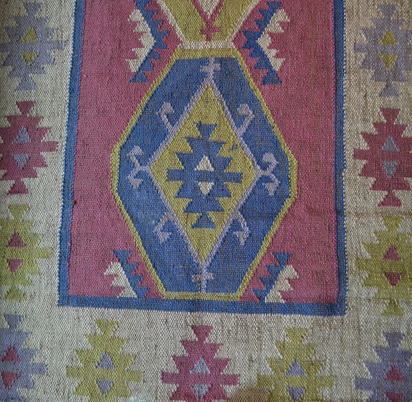 Rose Blue Green Kilim Wool Jute Rug 6621 Rugsite